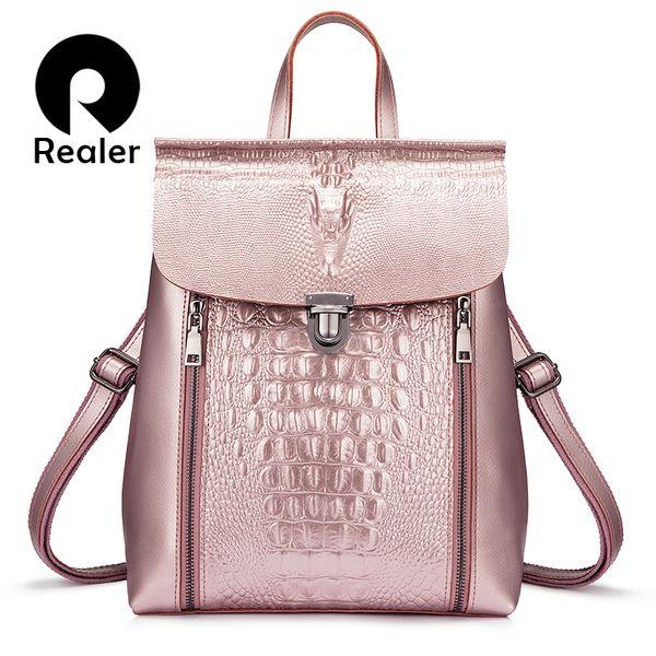 Realer Women Backpack Split Leather High Quality Backpack For Girl Teenagers Crocodile Prints Waterproof Bag Fashion StyleMX190824