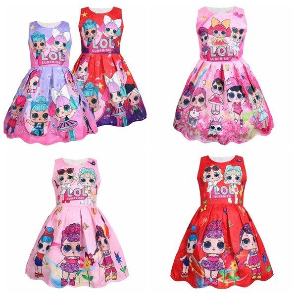 Baby Summer Surprise dress girls Rainbow Dress Girl sleeveless INS Baby Princess Party Dress Kids Summer Casual Dresses KKA7062
