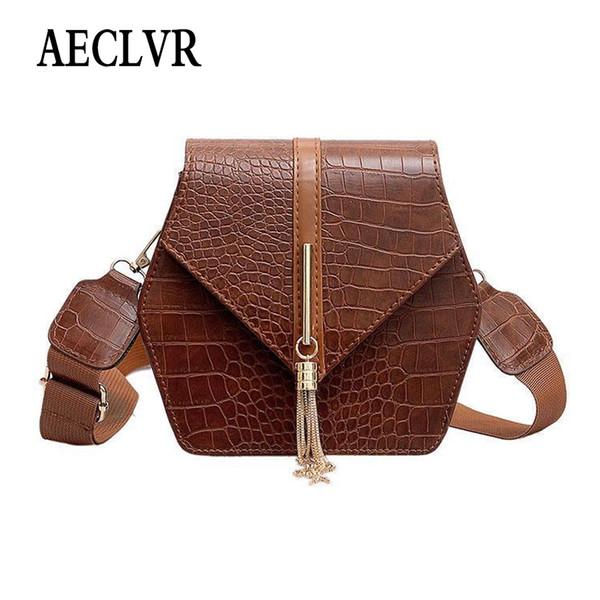 AECLVR Metal Tassel Decor Hasp Flap Solid Color Alligator PU Leather Shoulder Bags For Women Wide Strap Ladies Crossbody Bags