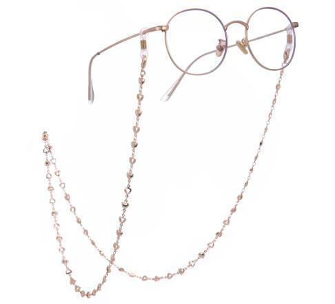 Fashionable Silver and Gold Safety Heart Eye Glass Chain Beads Cord Sunglasses Chain for Women and Men Jewelry