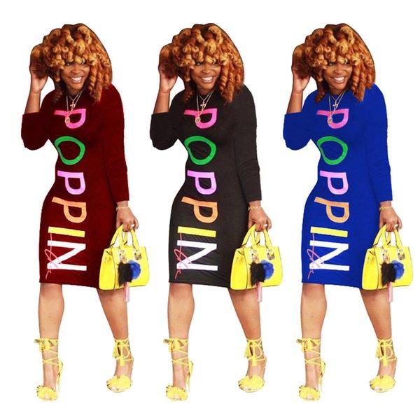 Elbise Avrupa ve Amerika MS kişilik mektup baskı Uzun kollu Renkli elbise Eğlence moda Orta etek yeni stil