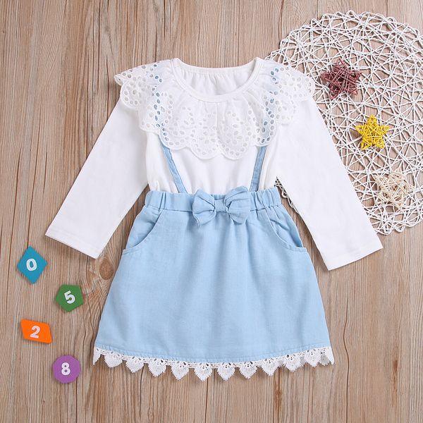 Sıcak Bebek Kız Giysileri Kıyafetler Tatlı Beyaz Pamuk Gömlek Dantel Büyük Pelerin yaka + Kayış Yay Etek ile 2 adet set Hotsale 2019
