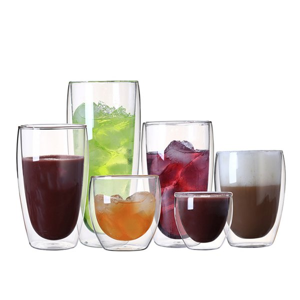 1 Pcs Heat-resistant Double Wall Glass Cup Beer Coffee Cup Set Handmade Creative Beer Mug Tea Mugs Transparent Drinkware