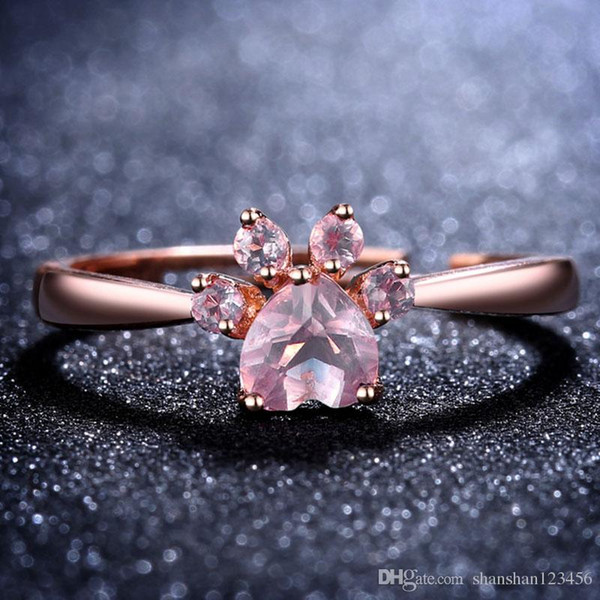 2018 Cute Bear Paw Cat Claw Opening Adjustable Ring Rose Gold Rings for Women Romantic Wedding Pink Crystal CZ Love Gifts Jewelry 080307