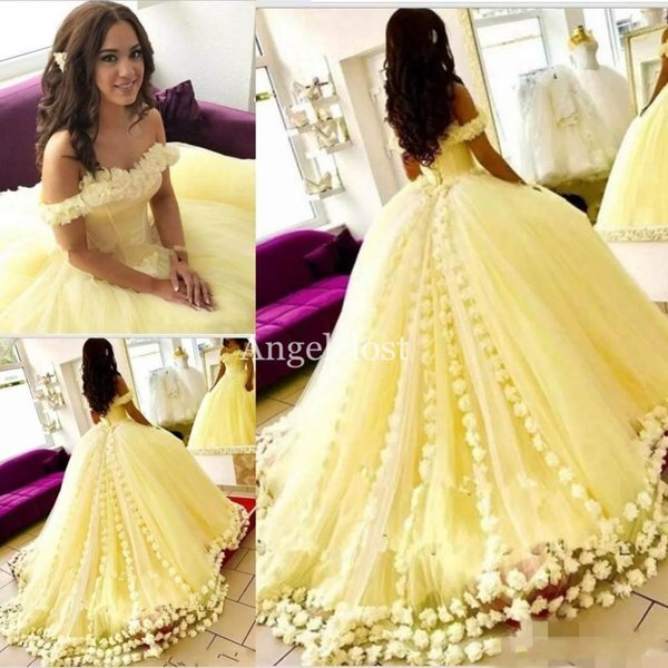 Yellow Ball Gown Quinceanera Dresses 2019 Off Shoulder Backless Sweep Train  Flowers Tulle Skirts Long Prom Dresses For Sweet 15 Vestido Cute 15
