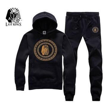 Mens LAST KING Brand Tracksuits Casual Sports Hooded Hoodies Long Trousers 2pcs Clothing Sets Suits