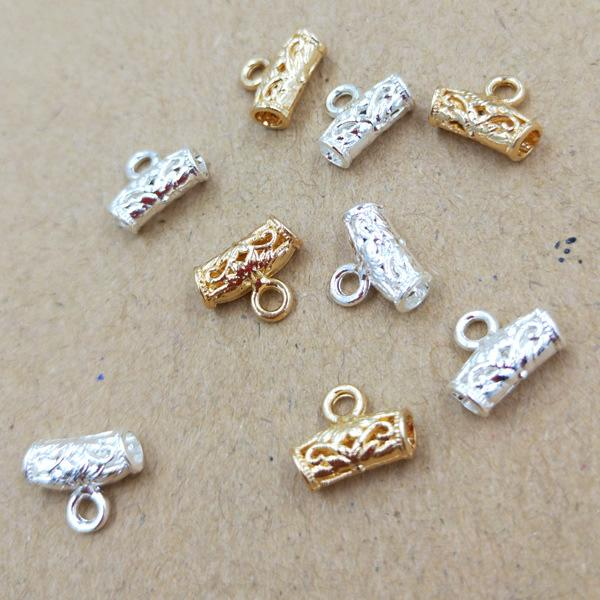 200pcs 10*8mm Gold Silver Hollow hanger tube charms metal pendants Alloy DIY Jewelry Accessories Headwear Hair Jewelry Handicraft Material