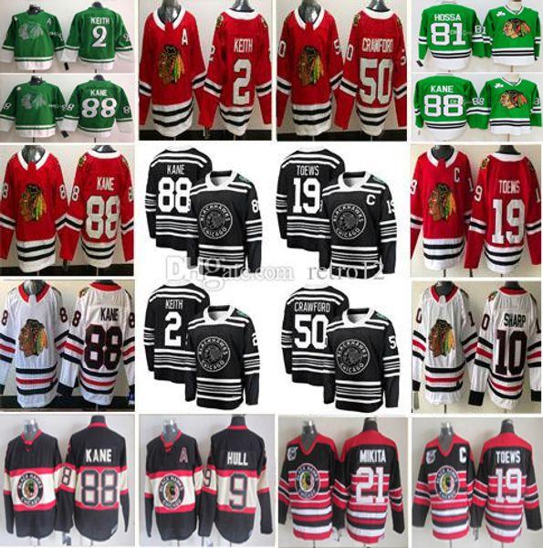 Özel Chicago Blackhawks Bobby Hull 2 Duncan Keith 12 Alex DeBrincat 88 Patrick Kane 19 Jonathan Toews Corey Crawford 00 Griswold Formaları