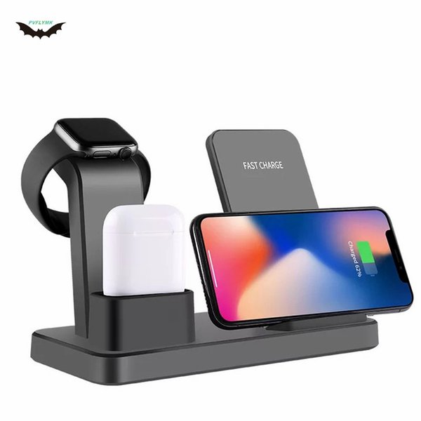 Pvflymk Q12 Three-in-One Wireless Charger Suitable Holder for iPhone for Apple Watch for AirPods and Other Android Smart Phones