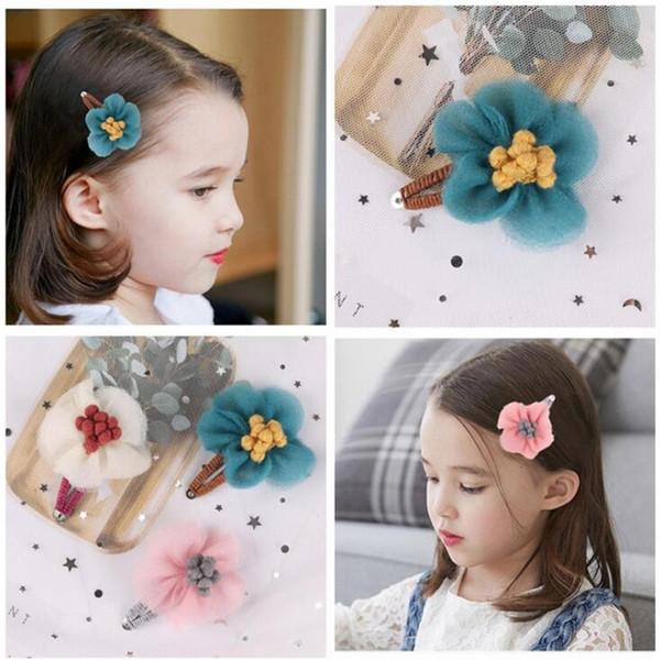 New Arrival Children Girls Korean Style Cute Hair Clips Kids BB Flower Hairgrips Alligator Barrette Lovely Hair Accessories