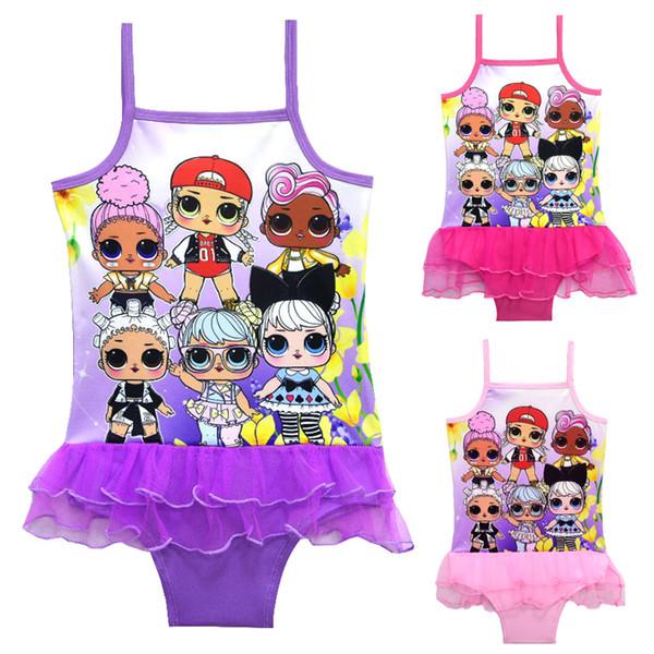 Traje de baño para niños 3 Colores LOL Muñecas Impreso 3-10t Niñas bebés traje de baño de una pieza Niñas diseñador traje de baño bikini SS137