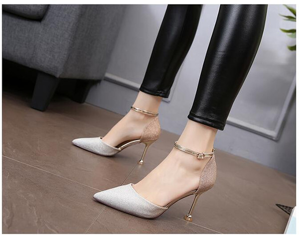 Summer new style Women's high heel sandals Gold sequined shoe upper Sexy pointed stiletto With height: 8cm Three colors optional