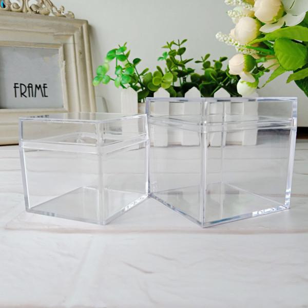60pcs / lot 5cm Caja de embalaje cuadrada Almacenamiento de plástico transparente para accesorios de joyería de bricolaje Cuentas de piedras Piedras Manualidades caja contenedor