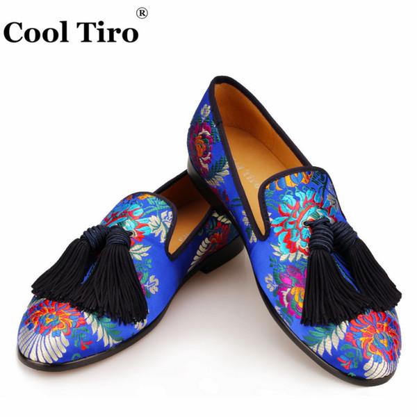 Cool Tiro Jacquard Loafers Men Silk Tassels Moccasins Men's Smoking Slippers Wedding Dress Shoes Leather Slip on Flats Handmade
