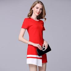 European Station Women's Dress Fall 2018 New Red and White Spliced Irregular Knitted Short Sleeve Dresses