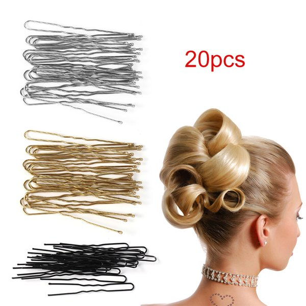 20PCs/Set Black New U Shaped Hair Pin Hair Styling Jewelry Bobby Pin Clip Metal Hairpin Women Hair Accessories bijoux cheveux C19010901