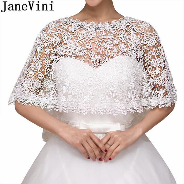 JaneVini blanc perles collier de mariée Cape Wrap dentelle épaule Bolero mariage soirée Châle Vestes étoles été Veste Mariage