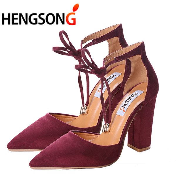 6 Colors Pointed Strappy Pumps Sexy Retro High Thick Heels Shoes 2019 New Woman Shoes Female Lace Up Shoes Er911519