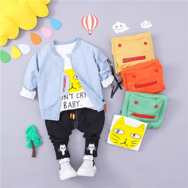 HYLKIDHUOSE 2018 Autumn Infant Clothes Suits Baby Girls Boys Clothing Sets Toddler Children Coats T Shirt Pants Kids Costume