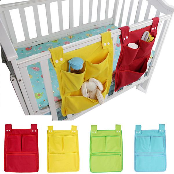 Baby Bed Hanging Storage Bag Cotton Newborn Crib Organizer Toy Diaper Pocket for Crib Bedding Storage Set