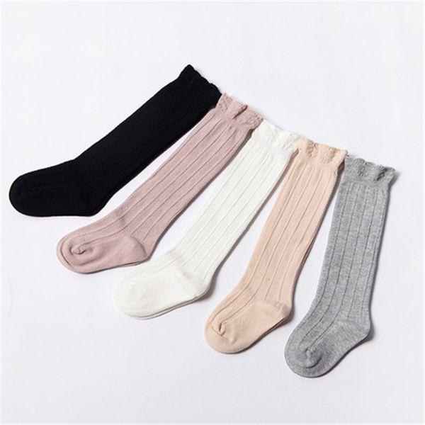 Bambino tubo increspato calze dei ragazzi delle ragazze ginocchio Uniforme Calze Infanti e bambini Cotton Pure Color 0-3T FJ479