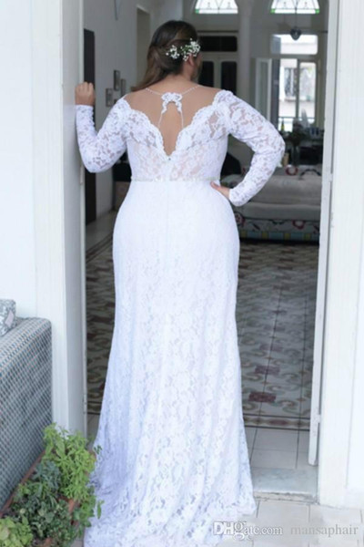 Discount Cheap Plus Size Wedding Dresses Deep V Neck Sheath Vintage Long  Sleeves Wedding Dresses Bridal Gowns Sweep Train Spring Summer Wear Gown A  ...
