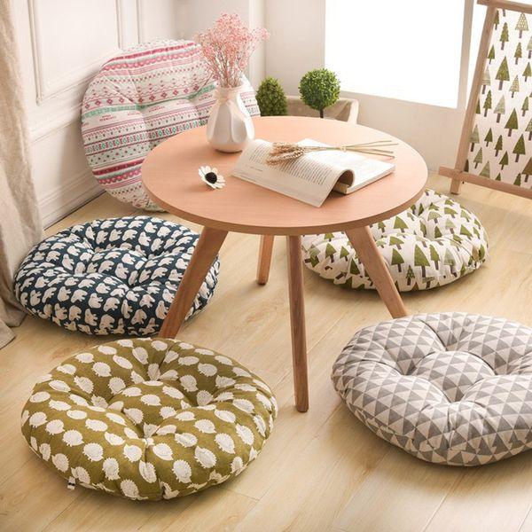 Round Shape Seat Cushion Silk Cotton Core Cotton Polyester Tatami Cushion Pillow Home Decoration Car Soft Sofa Cushion