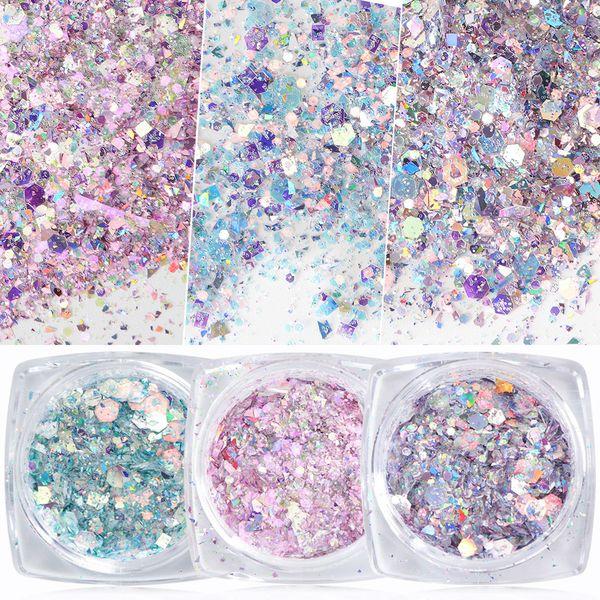top popular 1 Box Nail Mermaid Glitter Flakes Sparkly 3d Hexagon Manicure Nails Art 2020