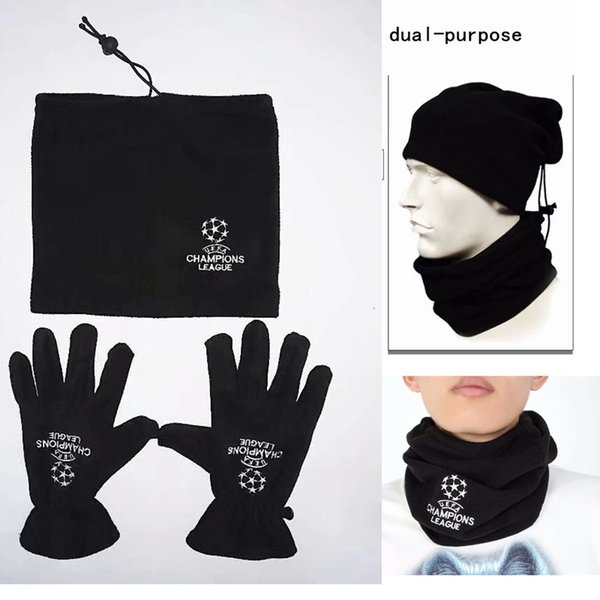 UEFA Champions League Gloves And Collar Hats Dual-purpose Keep Warm Black Adult Outdoor Sport Top Quality Free Shipping