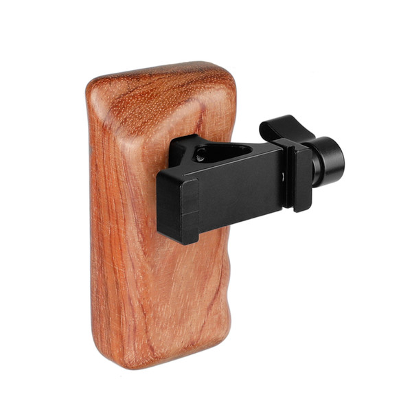 CAMVATE Wooden Handgrip Left Side With QR ARCA Compatible Clamp for dslr cage rig C2068
