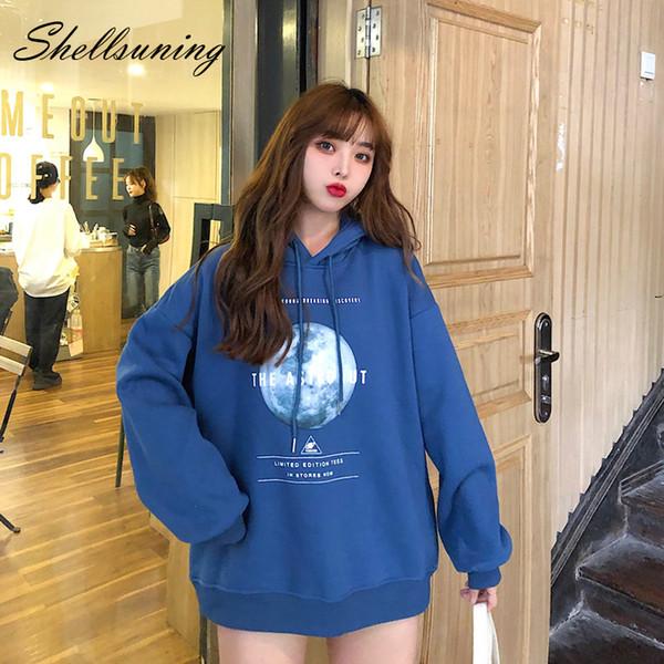 Shellsuning M-XXL Femme Sweats à capuche T-Shirt Femme Pull Harajuku Imprimer hiver chaud à capuchon épais vêtement Jumper Casual Top