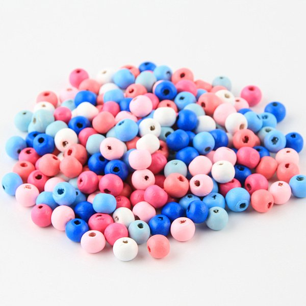 perle en bois 200Pcs 8mm Wooden Beads Lead-free Wood Findings For DIY Crafts Kids Toys Necklace Pacifier Clip Spacer Balls Bead perle
