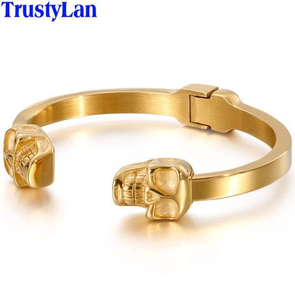 gold color stainless steel open bangle men punk rocker cuff bracelets bangles massive skeleton jewelry dropshipping
