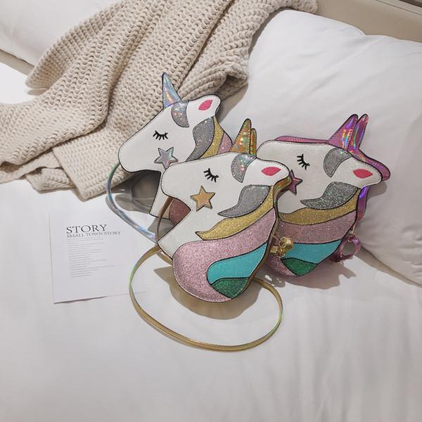 3 stilleri Unicorn Pullu çanta lazer bling çanta Kızlar Sikke çanta telefonu Kılıfı Çanta Glittler Omuz çocuklar prenses crossbody Çanta FFA2164