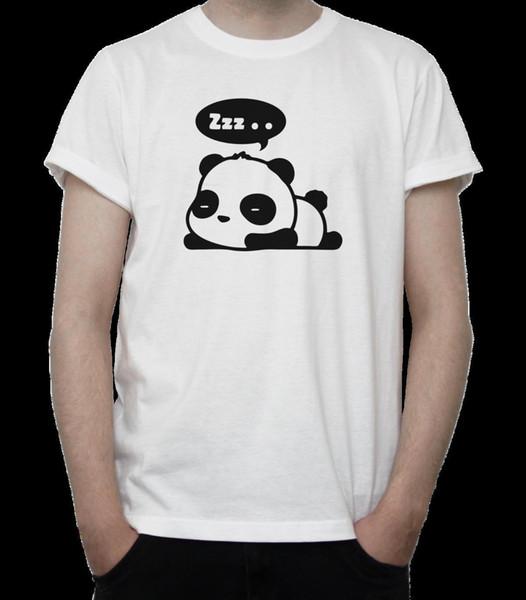 SLEEPING PANDA T-Shirt BW Drawing CUTE Bear CUB Kawaii ANIME Chinese GREY White