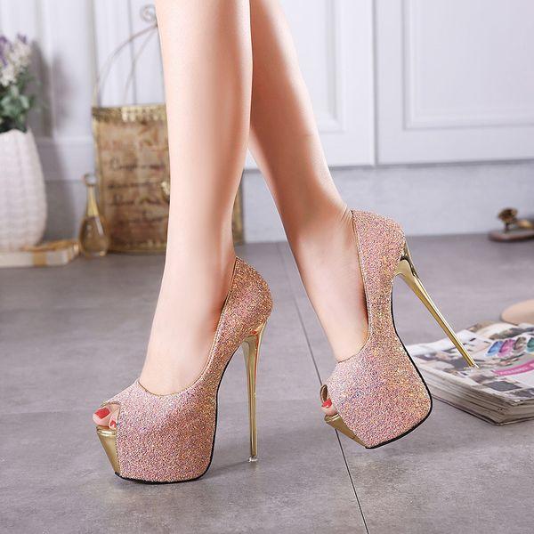 16cm sequins ultra high heels wedding shoes peep toe white pink black stiletto heel platform dress shoes size 35-40