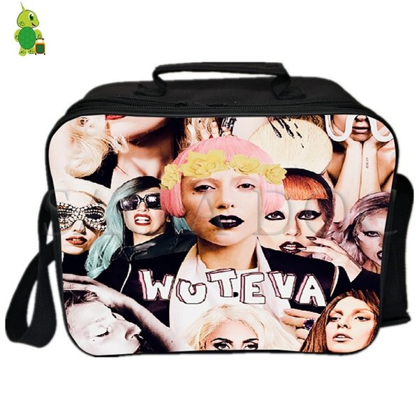 Lady Gaga Famous Star Collages Lunch Bag Fresh Keeping Cooler Bag Insulation Ice pack Women Men Thermal Shoulder Picnic Box