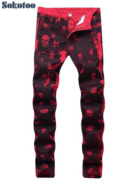 Sokotoo Crânio dos homens impresso vermelho denim jeans Plus Size moda slim fit padrão pintado calças stretch