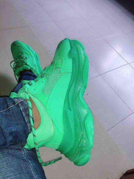 Nouveau 2019 Mode Paris 17FW Triple-S Sneaker Triple S Casual Papa Chaussures pour Hommes Femmes vert Ceahp Sports Designer Chaussure Taille 36-45