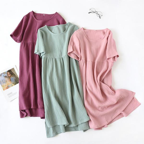 YF499 été nouvelle pyjama modal couleur unie slim chemise de nuit extensible