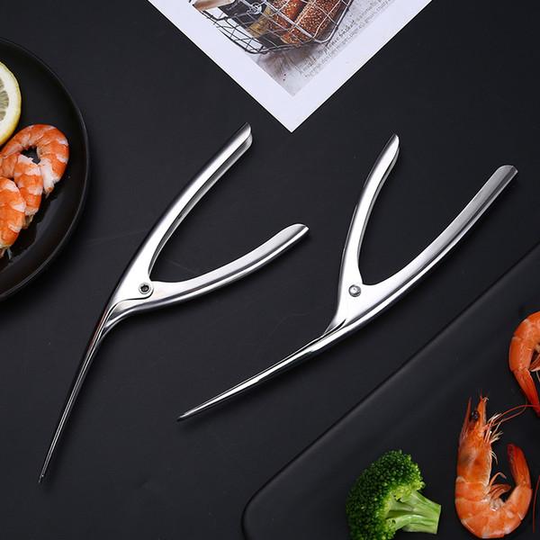 3 Pasos Quick Shrimp Peelers Camarón De Acero Inoxidable Peeler Prawn Deveiner Cocina Restaurante Removedor de Concha de Langosta Herramientas de Mariscos DBC DH1254