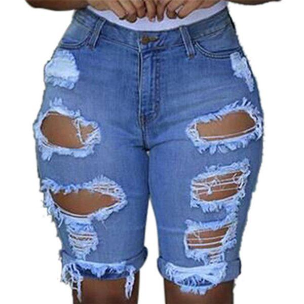 Mulheres Elastic Destroyed Hole Leggings Calças Curtas Denim Shorts Rasgadas Jeans Sexy Womens Elastic Hole Calças Curtas