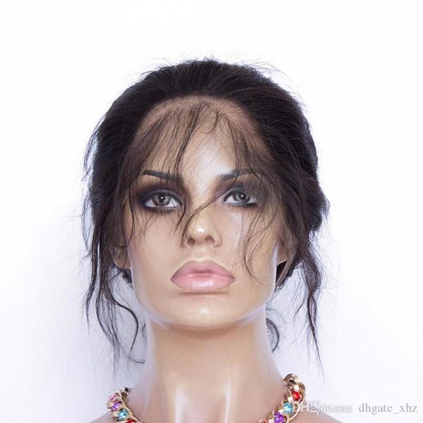 Chiusura frontale in pizzo 360 dritto con fascia per capelli regolata per capelli non trasformati