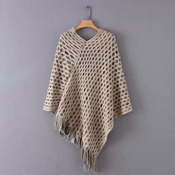 Casual donna scava fuori maglione poncho e maglione lavorato a maglia pullover nappa maglione allentato cappotto caldo