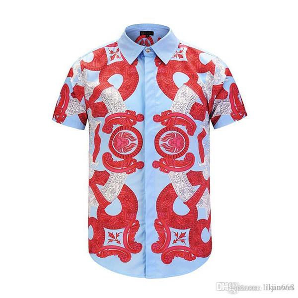 New Fashion Slim Red floral pattern Shirt 2019 Casual Medusa Men Shirts Covered Button summer Men short-sleeved Shirts M-XXL