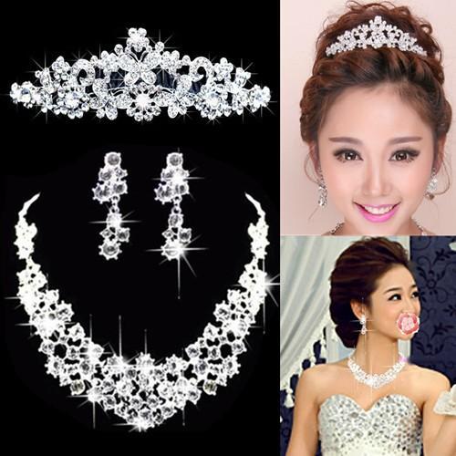 Borboleta Waterdrop Prata Diamante Cristal Noiva 3 pcs Set Colar Brincos Conjunto Joias de Casamento Da Tiara Da Coroa