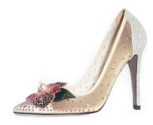 Sexy Cristal Fleur Chaussures De Mariage De Mariée Mince Talons Hauts Bout Toit Maille Air Paillettes Paillettes Strass Parti Chaussures Femme