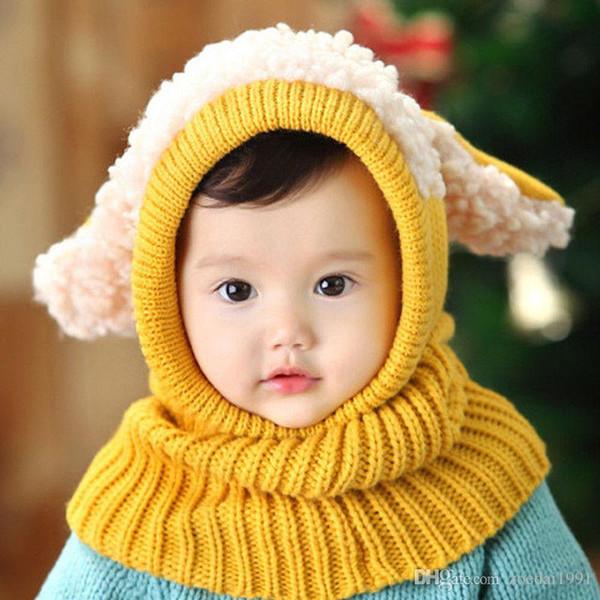 Winter Baby Mütze Und Schal Joint Mit Hund Häkeln Strickmützen für Kleinkinder Jungen Mädchen Mit Kapuze Earflap Kinder Kinder Nackenwärmer