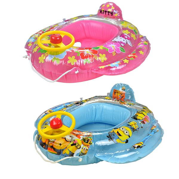 Children Gifts Junior Ride In Baby Swim Ring Cute Cartoon Pattern Pool Float Boat Seat Inflatable Swim Ring