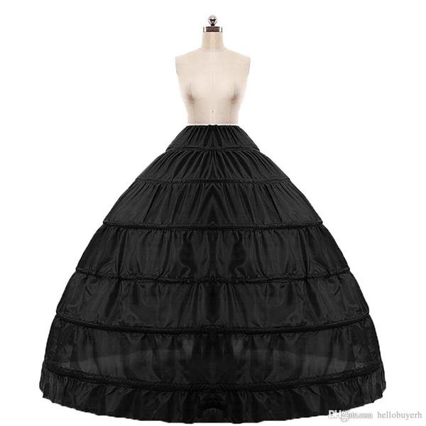 2018 In stock Ball Gown Petticoat Cheap White Black Crinoline Underskirt Wedding Dress Slip 6 Hoop Skirt Crinoline For Quinceanera DressSupe